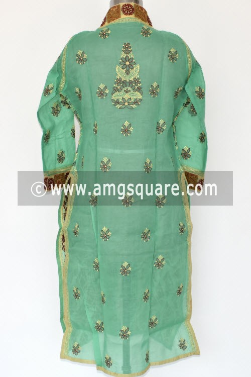 Pista Green Hand Embroidered Lucknowi Chikankari Long Kurti (Cotton) Bust-44 inch 17887