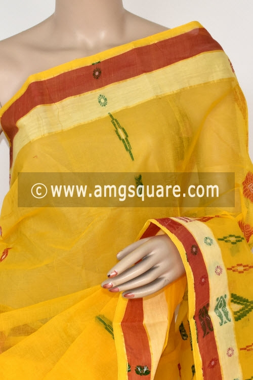 Yellow Handwoven Bengali Tant Cotton Saree (Without Blouse) 14027