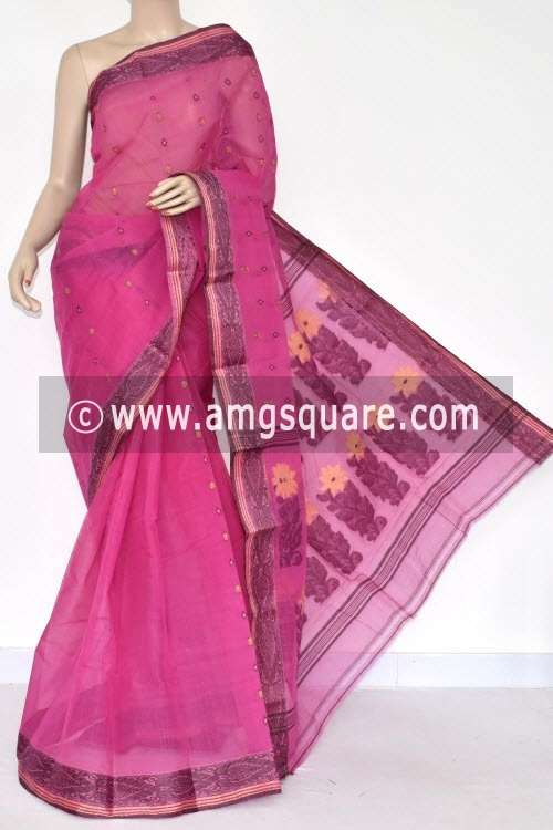 Pink Handwoven Bengal Tant Cotton Saree (Without Blouse) 14147