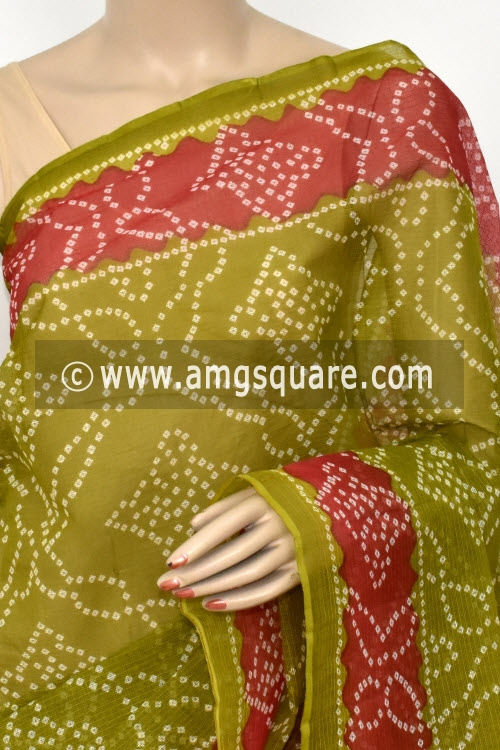 Menhdi Green Rani Pink Premium JP Kota Doria Chunri Print Cotton Saree (without Blouse) 15422