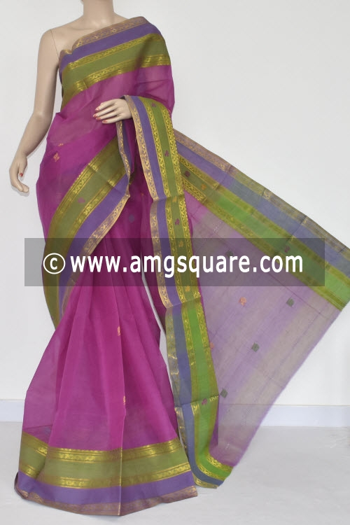 Magenta Handwoven Dhaniakhali Bengali Tant Cotton Saree (Without Blouse) 13952