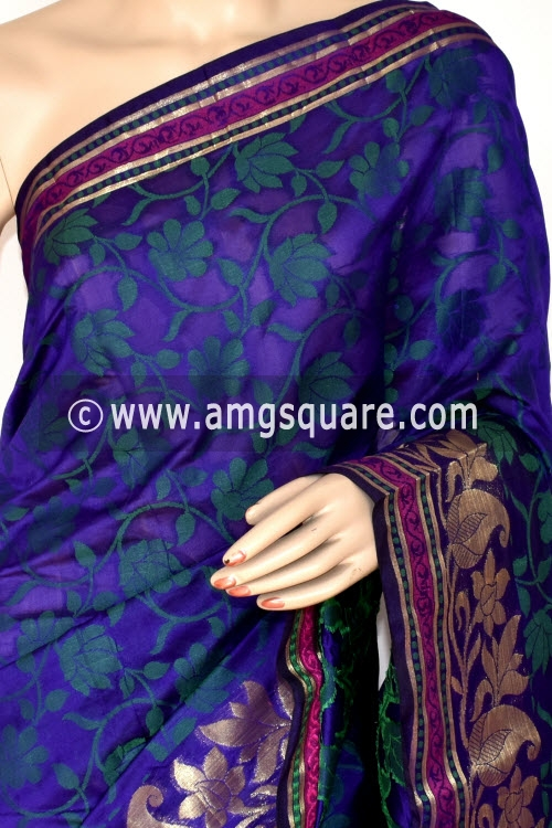 Royal Blue Handloom Banarasi Semi Cotton Saree (with Blouse) Zari Border Resham Weaving 16231