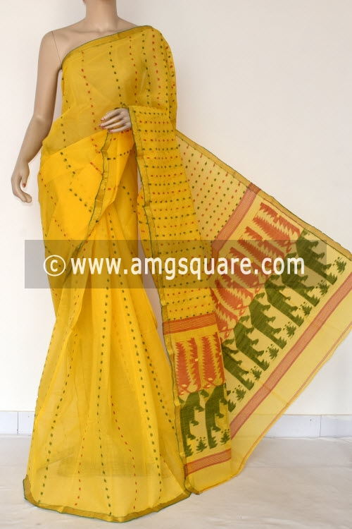 Golden Yellow Handwoven Thousand Booti Bengal Tant Cotton Saree (Without Blouse) 14041