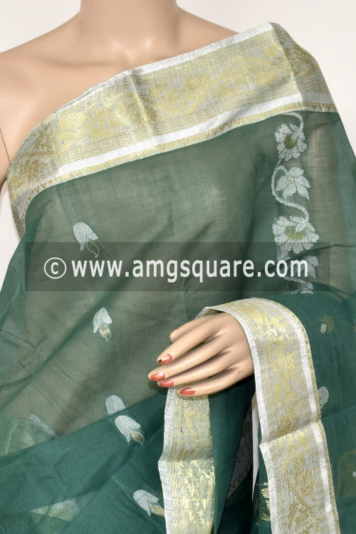 Greyish Green Handwoven Bengal Tant Cotton Saree (Without Blouse) Zari Border 17410