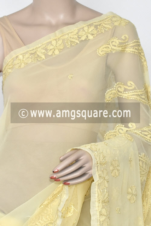 Beige Designer Hand Embroidered Lucknowi Chikankari Saree (With Blouse - Georgette) 14619
