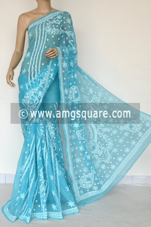 Pherozi Blue Designer Hand Embroidered Lucknowi Chikankari Saree (With Blouse - Georgette) 14495