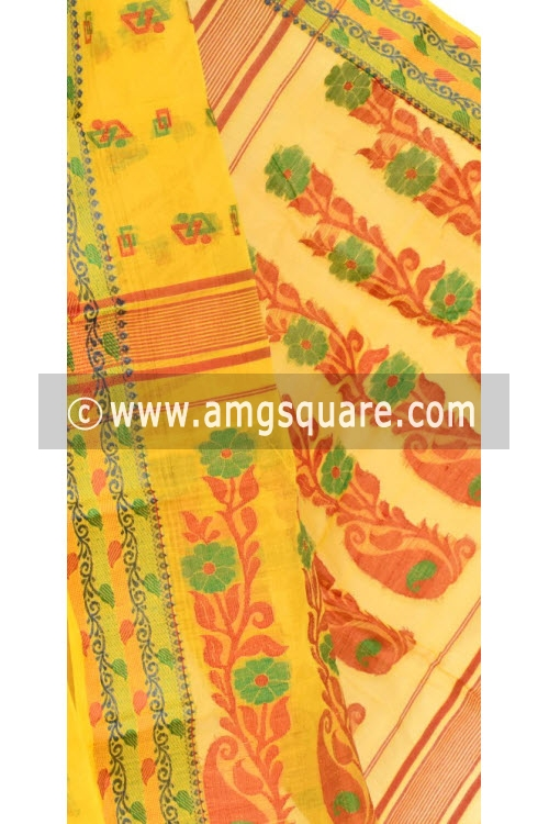 Golden Yellow Handwoven Bengal Tant Cotton Saree (Without Blouse) Resham Border 14141