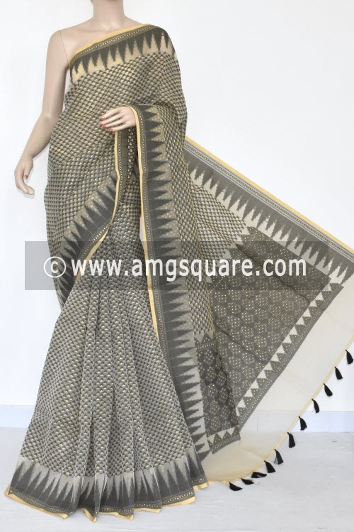 Off White Black Banarasi Kora Cot-Silk Handloom Saree (With Blouse) Temple Border 16121