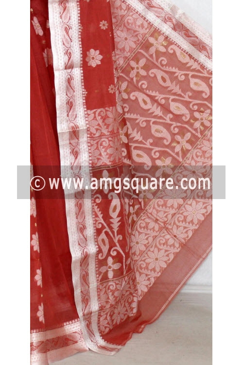 Rust Handwoven Bengal Tant Cotton Saree (Without Blouse) Resham Border 14136