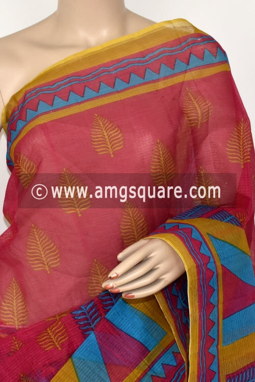 Pink Pherozi Premium JP Kota Doria Printed Cotton Saree (without Blouse) 15395