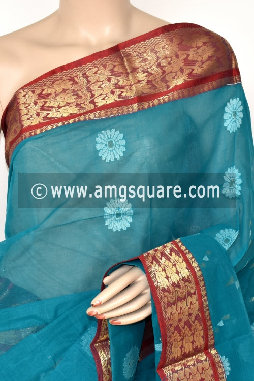 Pherozi Blue Handwoven Bengali Tant Cotton Saree (Without Blouse) 14013
