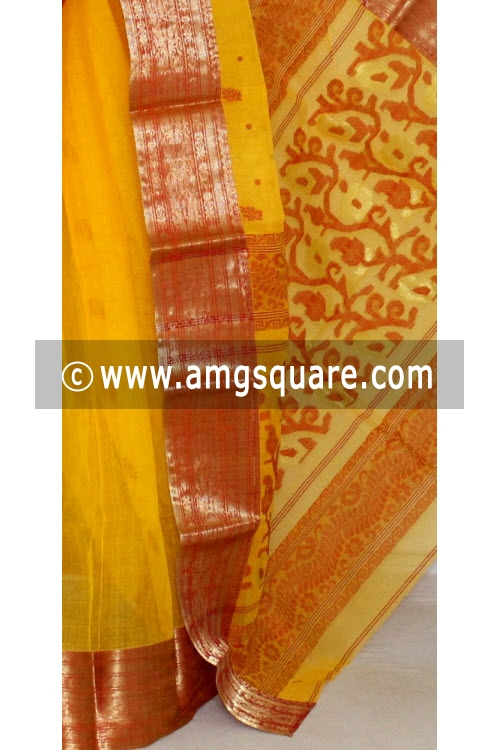 Golden Yellow Red Handwoven Bengal Tant Cotton Saree (Without Blouse) Zari Border 14101