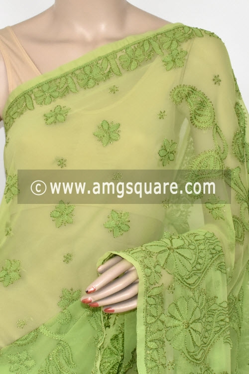 Menhdi Green Designer Hand Embroidered Lucknowi Chikankari Saree (With Blouse - Georgette) 14617