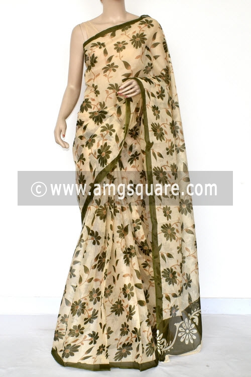 Beige Menhdi Green Floral Print Premium JP Kota Doria Printed Cotton Saree (without Blouse) 15410