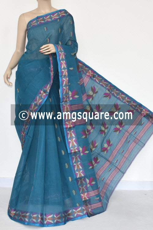 Blue Resham Border Handwoven Bengal Tant Cotton Saree (Without Blouse) 17252