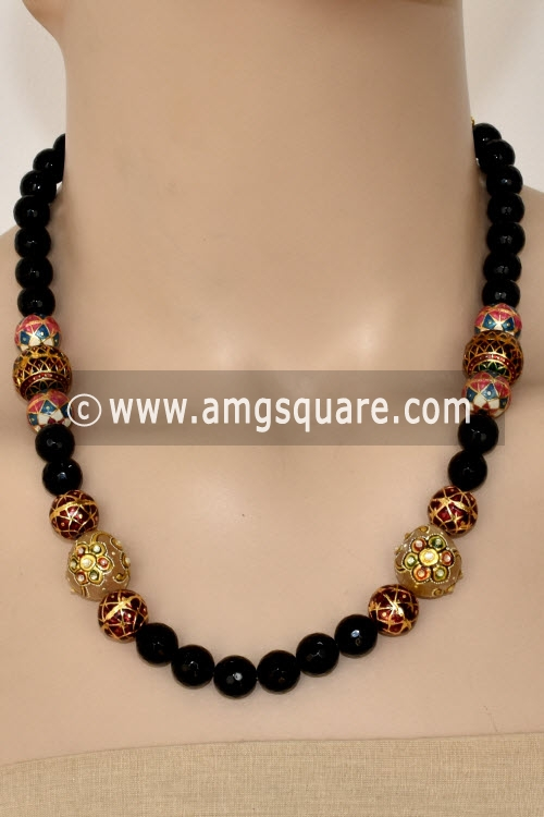 Black Cut Stone & Sea Shell Designer Kantha Necklace Set (Without Earrings) 12757