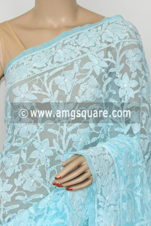 Light Sky Blue Allover Hand Embroidered Lucknowi Chikankari Saree (Georgette) 14898