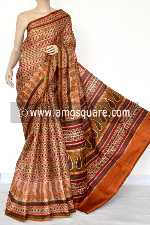 Mustared Tusser Art Silk Printed Saree (With Blouse) 13461