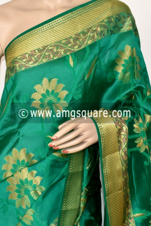 Green Banarasi Handloom Dupion Silk Saree (With Blouse) Allover Resham Weaving 16175