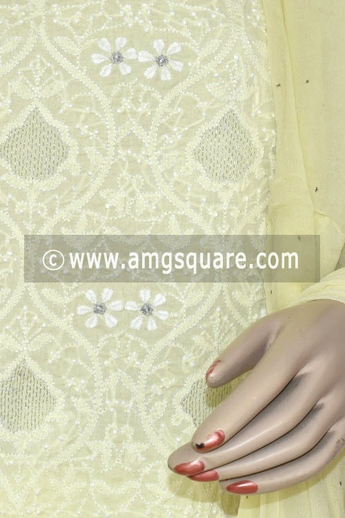 Lemon Yellow Un-Stitched Hand-Embroidered Lucknowi Chikankari Salwar Kameez (Cotton) 17872