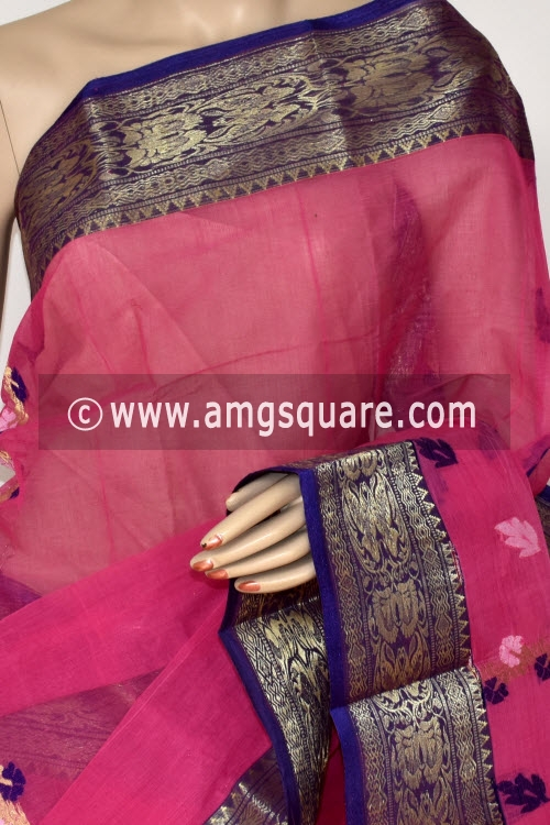 Pink Handwoven Bengal Tant Cotton Saree (Without Blouse) Zari Border Rich Pallu 14195