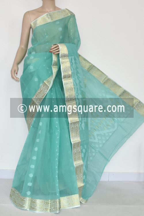 Light Sea Green Handwoven Bengal Tant Cotton Saree (Without Blouse) Zari Border 17340