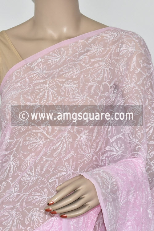 Light Pink Hand Embroidered Allover Tepchi Work Lucknowi Chikankari Saree (Georgette) 14821