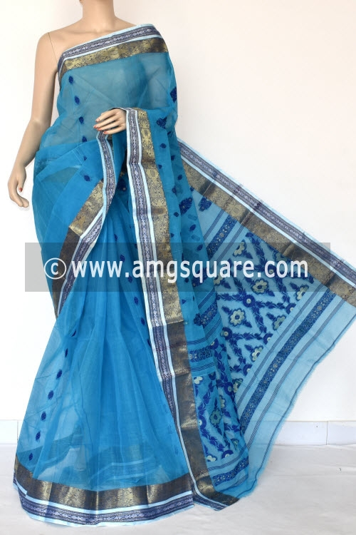 Pherozi Blue Handwoven Bengal Tant Cotton Saree (Without Blouse) Zari Border 17416