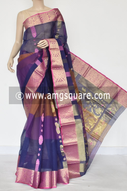 Navy Blue Purple Handwoven Bengal Tant Cotton Saree (Without Blouse) Zari Border 14115