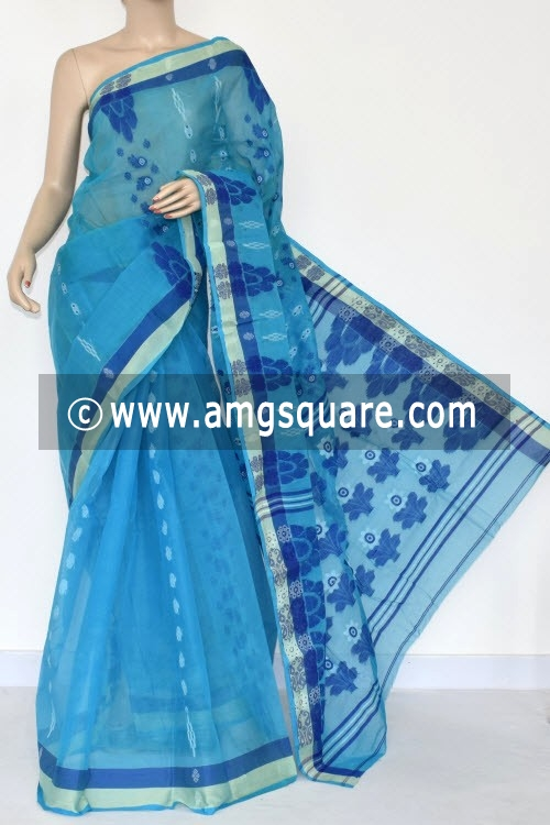 Pherozi Blue Handwoven Bengali Tant Cotton Saree (Without Blouse) 14053