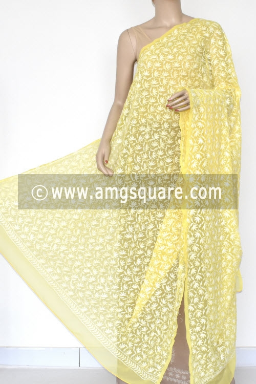 Yellow Hand Embroidered Allover Tepchi Work Lucknowi Chikankari Dupatta (Georgette) 17946