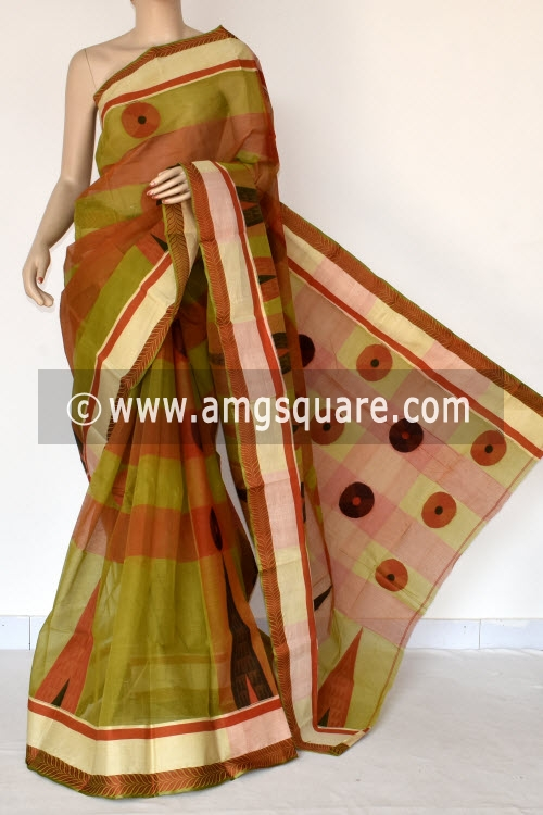 Menhdi Green Orange Handwoven Bengal Tant Cotton Saree (Without Blouse) Munga Border 17402