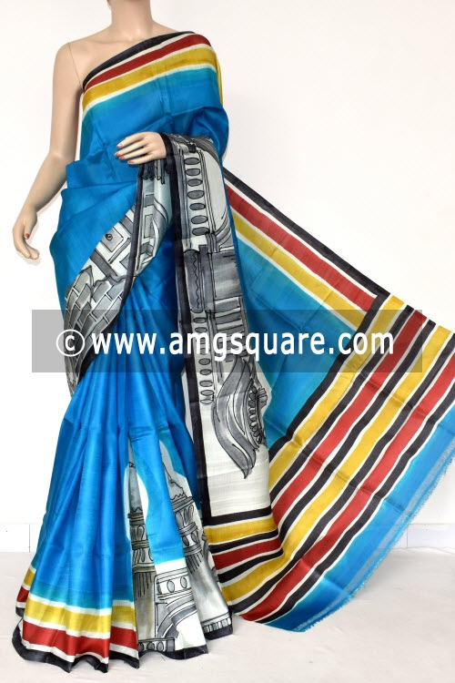 Pherozi Blue Hand-printed Pure Silk Saree (With Blouse) 17279